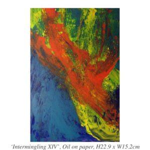 Yuki White - 'Intermingling XIV', Oil on paper, H22.9 x W15.2cm